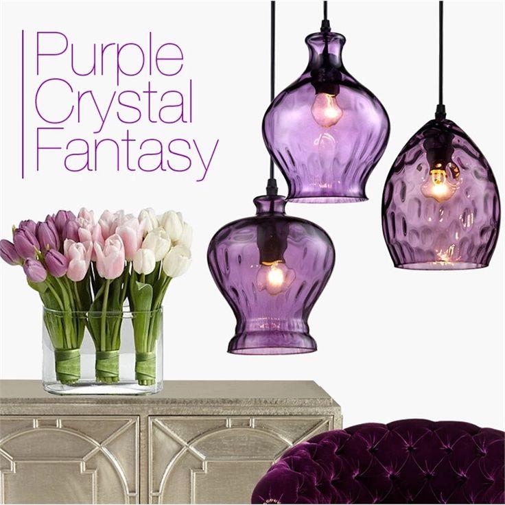 ペンダントライト ガラス製照明 天井照明 玄関照明 天井照明 紫色 3灯