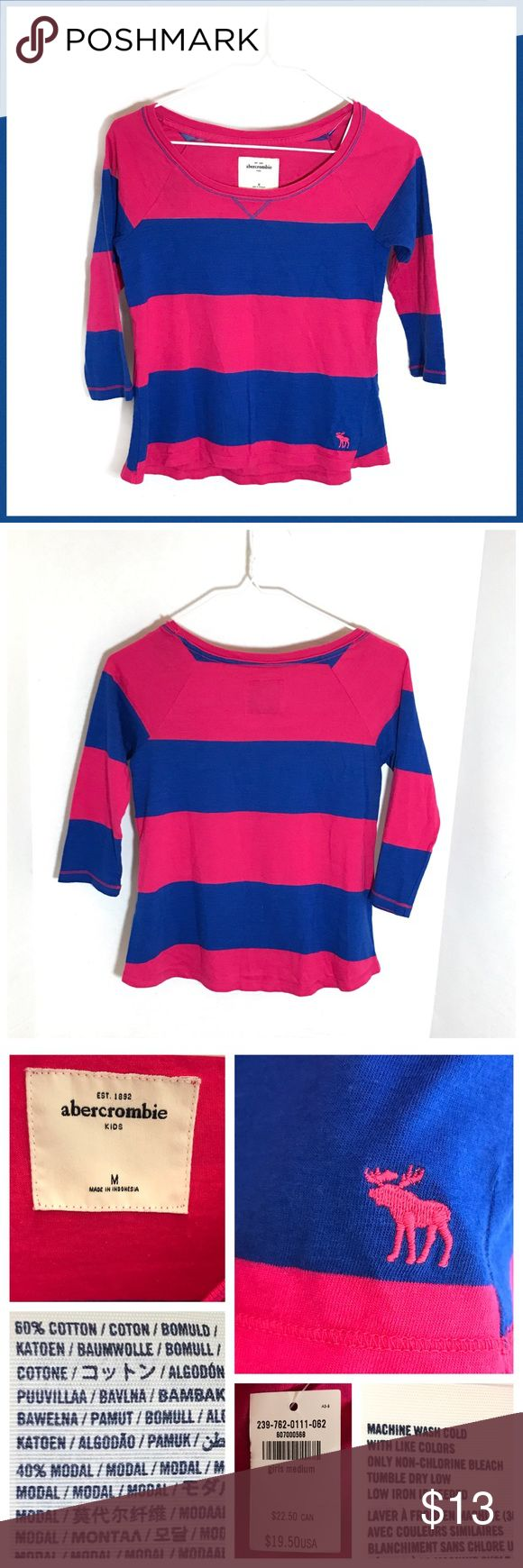 💎Sz M ABERCROMBIE Girls Round Neck Striped Tunic 〰GIRLS ABERCROMBIE KIDS Size-M-NWT-3/4 Length Sleeves-Beautiful Colors!!! abercrombie kids Shirts & Tops