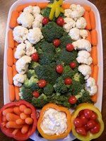Christmas veggie tray with easy dip recipe.
