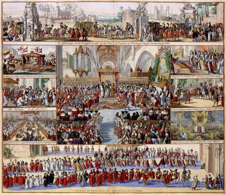 Op 11 april 1689 werden Willem III en zijn vrouw Maria Stuart in een zitting van het Britse Hogerhuis tot koning en koningin van Engeland gekroond. In deze fraaie prent heeft Romeyn de Hooghe (1645-1708) 9 scenes van de kroningsceremonie vastgelegd, van het afhalen van de kroonjuwelen uit de Tower van Londen tot aan de vreugdevuren op de Theems. In het midden van de plaat is de feitelijke kroning uitgebeeld.
