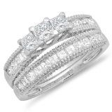 2.00 Carat (ctw) 14K White Gold Princess and Round Diamond Ladies Bridal 3 Stone Engagement Ring With