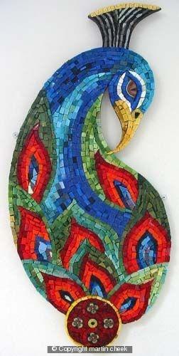 Peacock... Smalti, Gold Leaf Smalti and hand made Ceramic Element