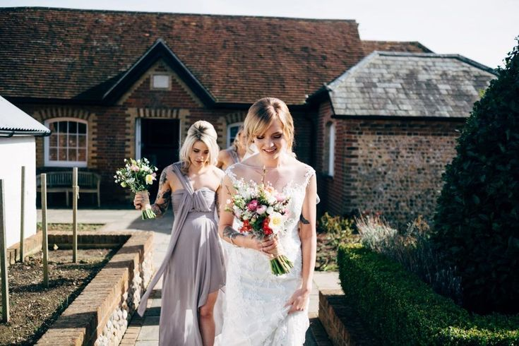 Benjamin Roberts 2650 Lace Wedding Dress | Dale Weeks Photography | Spring Wedding at Southend Barns in Chichester | Seasonal Bright Flowers from Sussex Flower Farm | ASOS Bridesmaid Dresses | Monsoon Flower Girl Dress
