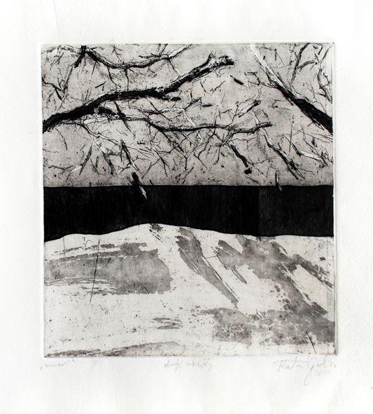 Marta Galisz akwaforta / pejzaż / etching / landscape