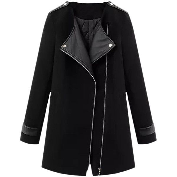 Blackfive Md-long Leather Panelled Padded Woolen Coat ($56) ❤ liked on Polyvore featuring outerwear, coats, jackets, blackfive, coats & jackets, belted coat, slim fit wool coat, belted wool coat, long leather coat and black coat