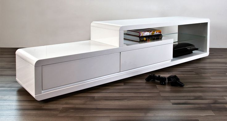 Alessia White Gloss TV Table | Tv tables, Glass shelves and High gloss
