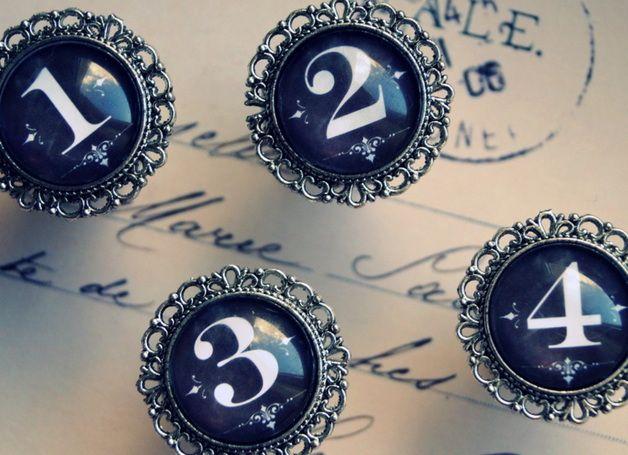 Piękne gałki vintage z cyframi dowolna cyfra - imaginacyjna - Uchwyty do mebli