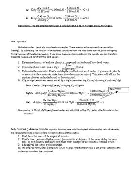 Percent Composition Hydrates Empirical And Molecular Formulas Chemistry Worksheets How To Memorize Things Teaching Chemistry