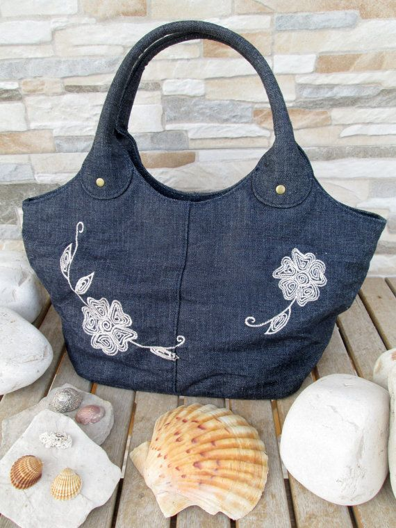Jeans Bag with White Thread Embroideries