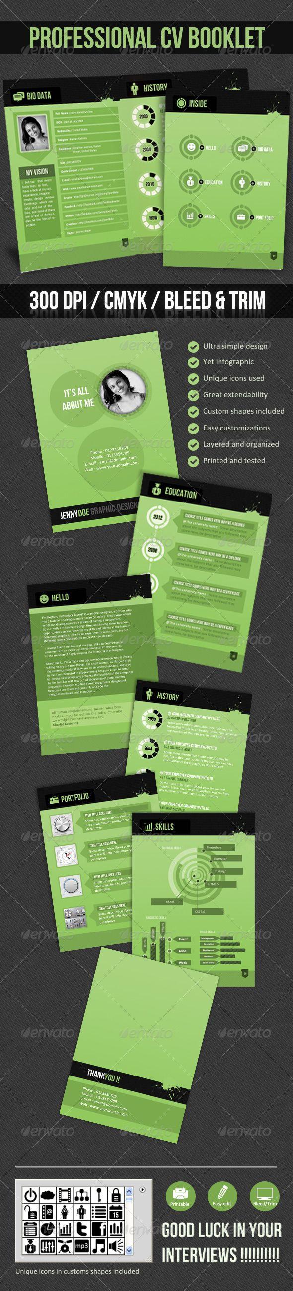 Professional CV Booklet- (Greenish CV) - GraphicRiver Item for Sale