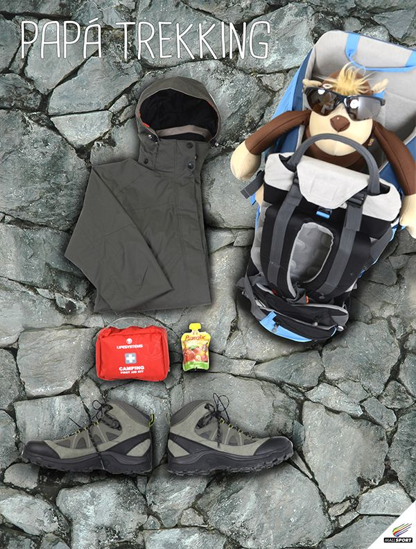 Impermeable, Nordwind - Mochila porta niño trekking, Andes Gear - Kit de emergencia, Tatoo - Alimento protéico, Sport Village - Bototos, Salomon