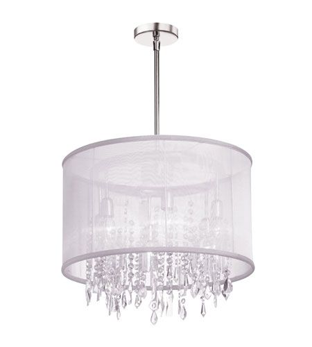 Dainolite Bohemian 6 Light Chandelier in Polished Chrome with White Organza Shade 85301-PC-119