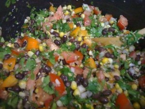 stoplight salad: corn, black beans, quinoa, bell pepper, onion, cilantro, tomato...