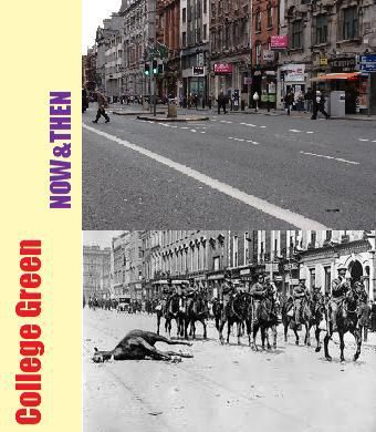 Looking towards College Green from Dame St with Trinity College in the background. Many of these cavalry troops would have been shocked to find themselves amid scenes of such carnage in what was then considered to be the second city in the British Empire, instead of The Western Front for which they had been trained.