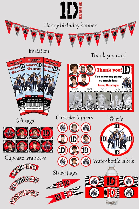 1D  One Direction Birthday Party Kit  Zebra Black and by mimseyy, $22.00