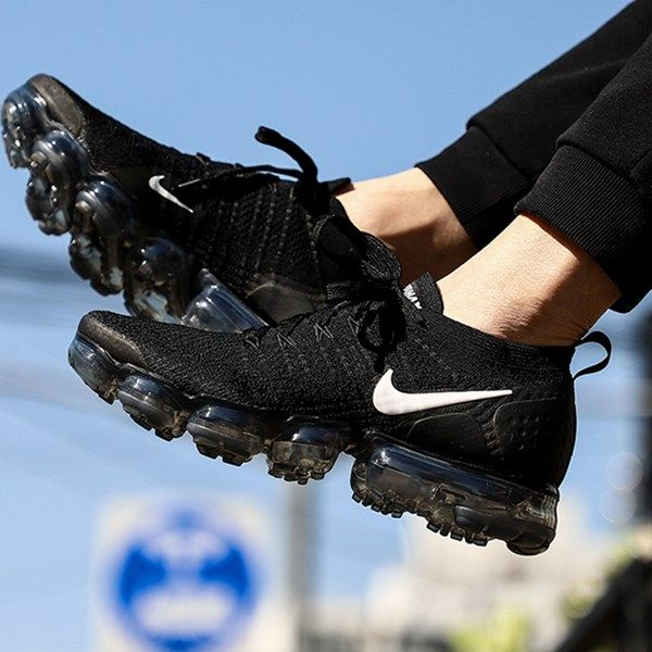 1148b47fc28 Nike Air VaporMax 2018 Flyknit 2.0 W Black White Tick Women Men ...