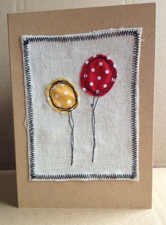 freehand machine embroidery birthday card  £2.25