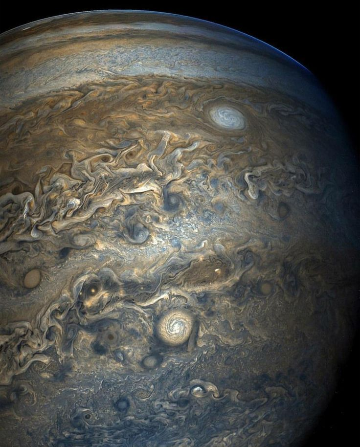 Taken by Juno Spacecraft above Jupiter. The clouds make the planet look like a marble