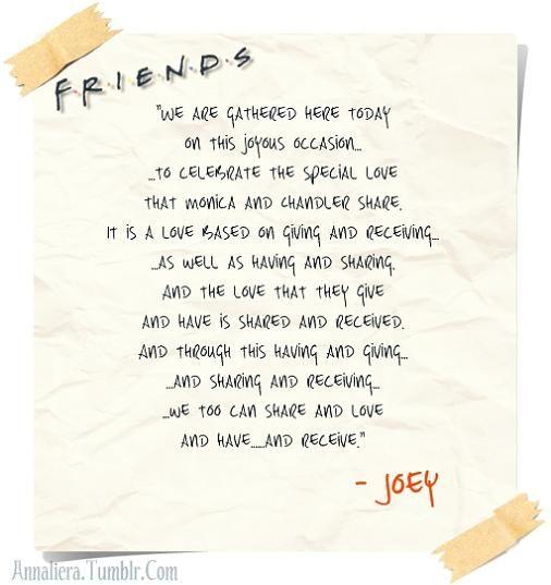 joeys wedding speech from friends if i ever get married one of my friends