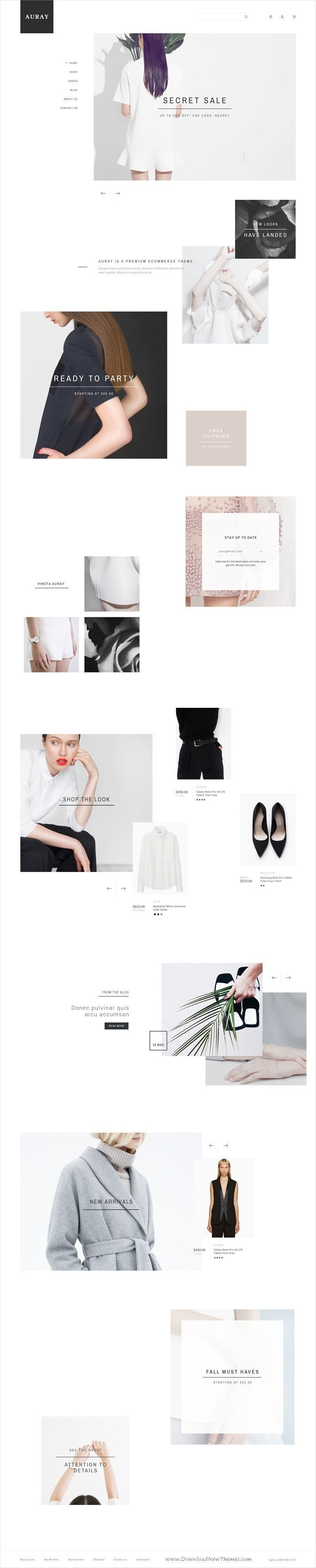 Auray is clean and modern design creative PSD template for #onlineshop stunning #eCommerce website with 10 #niche homepage layouts and 45 layered PSD files download now > https://themeforest.net/item/auray-ecommerce-psd-template/19751094?ref=Datasata