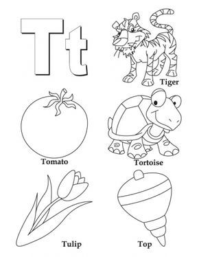 My A To Z Coloring Book Letter T Page