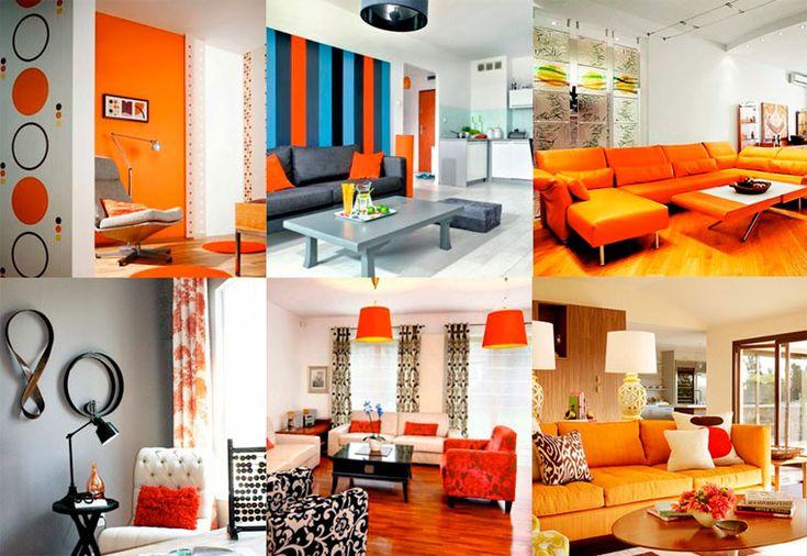 Die Kombination von Farben mit orange Farbe im Innenraum