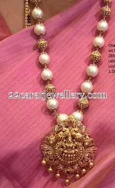 Jewellery Designs: South Sea Pearls Gold Beads Set #GoldJewelleryTraditional