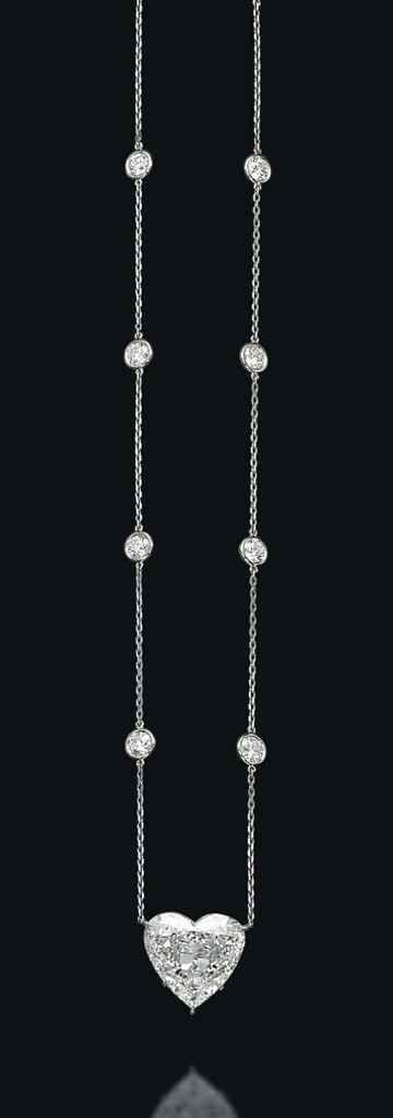 A heart-shaped diamond necklace #christiesjewels