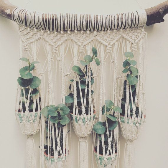 A lovingly handmade plant hanger for your beloved plants! Made from cotton rope.  The driftwood measures 61cm wide, macrame approx 37cm wide by 97cm long.  Pots not included.  Other designs and options are available, please see other listings or contact me with a custom request. Thank you.