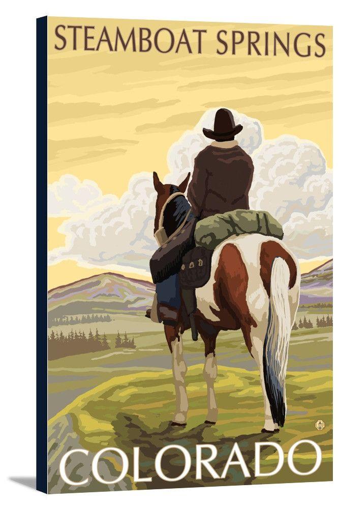Canvas (Steamboat Springs, Colorado - Cowboy on Horseback - Lantern Press Artwork)