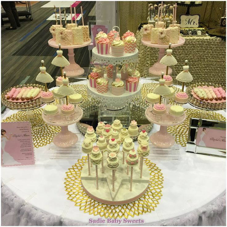 wedding shower candy buffet ideas%0A Pretty in pink   white and gold Bridal Shower Sweets Table at our expo