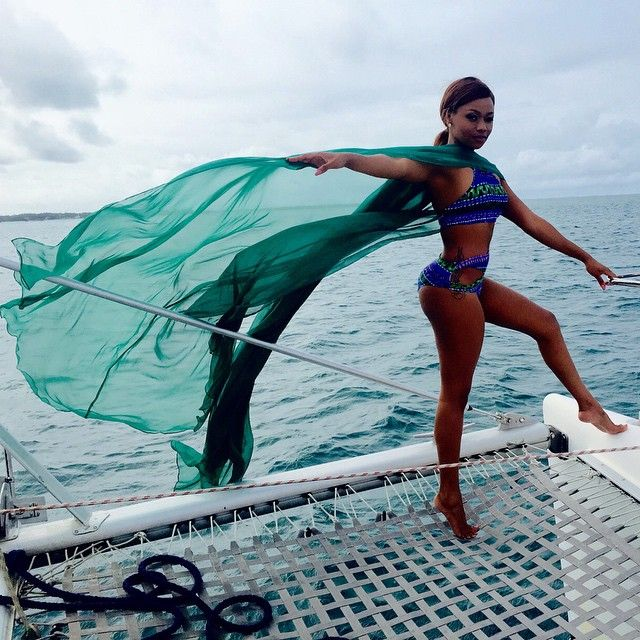 Bonang Matheba serving #hotnessoverload in an Andrea Iyamah Swimwear and cape.