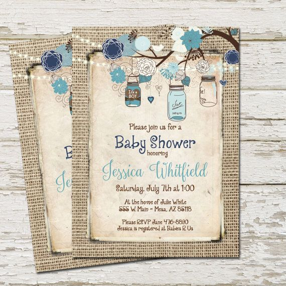 Rustic Baby Shower Invitation, Burlap, Invite, Mason jar, Boy Baby Shower Invitation, Blue, Navy, Lights, Printable, Customize, 5x7