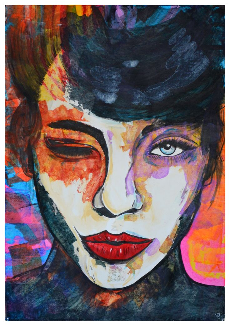 FineArtSeen - Wink by Jakub DK. This original abstract portrait painting is full of colour and comes from the collection on FineArtSeen. Click to view more art at great prices from the Home Of Original Art. << Pin For Later >>