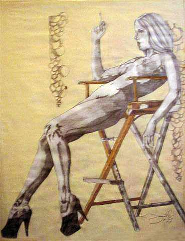 Nude Sitting Alone In A Chair