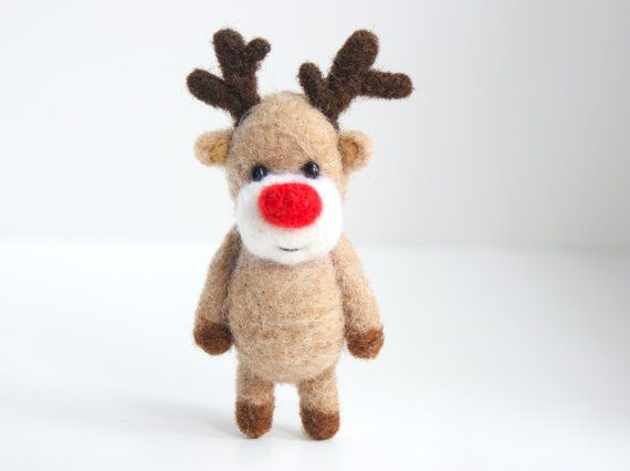 Needlefelted Rudolph the RedNosed Reindeer by unpetitours on Etsy...why do I want to give him a hug?!
