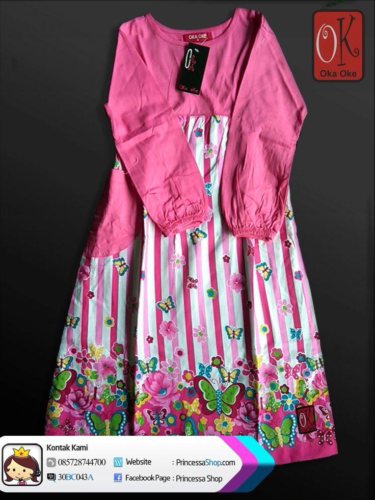 Gamis Anak Perempuan Oka Oke Dengan Warna Dominan Pink.Untuk motif gamis ini perpaduan antar motif bunga dan garis-garis.