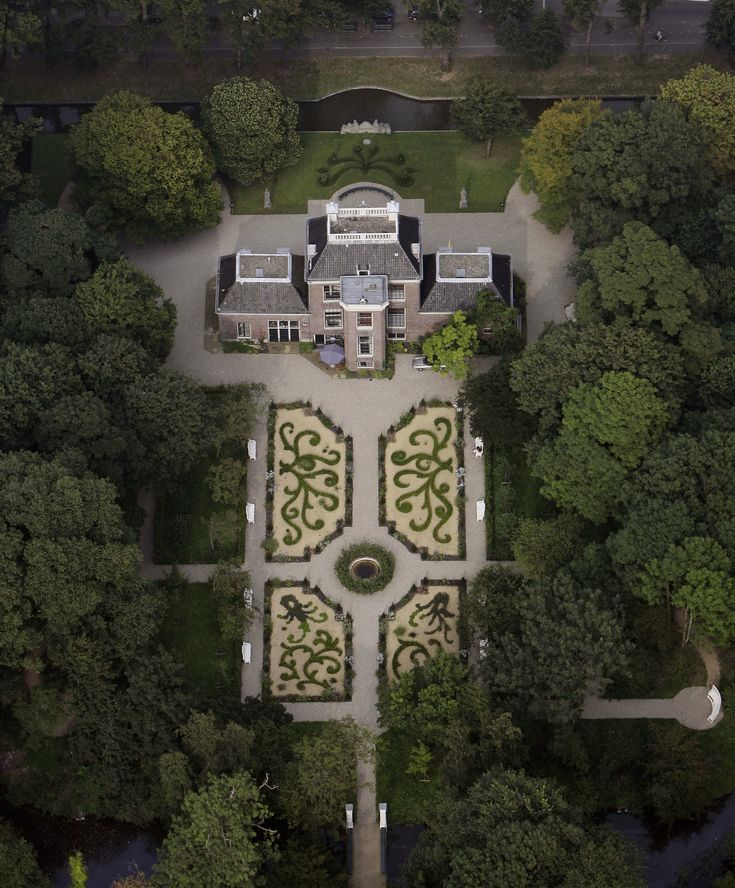 Bird view country house Frankendael in Amsterdam
