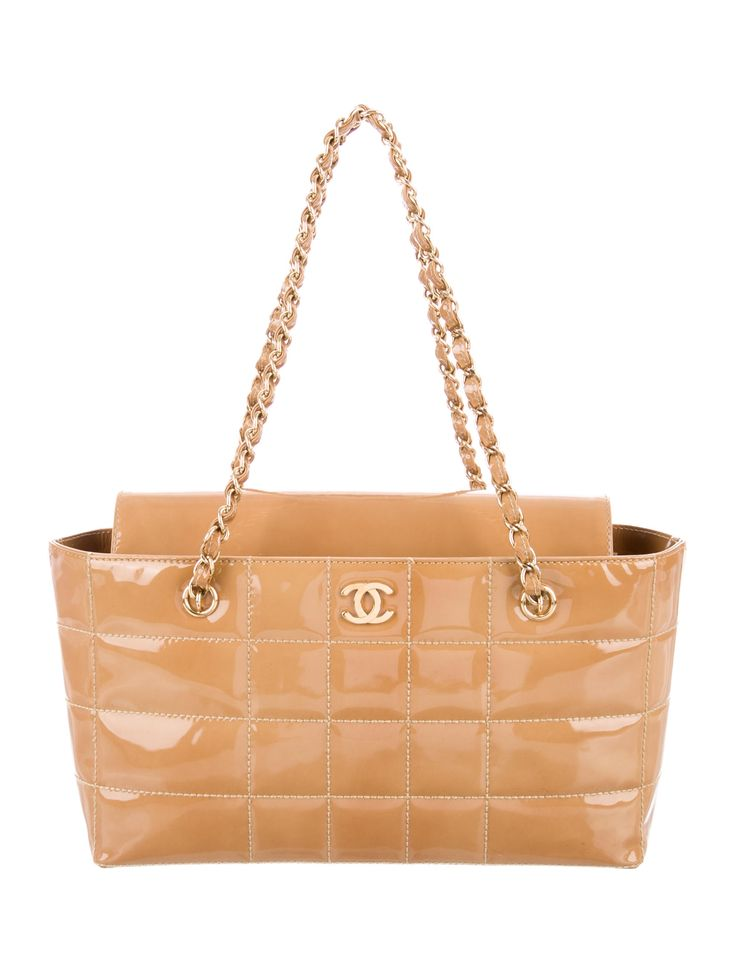 CHANEL PATENT SQUARE QUILT BAG - SHOP http://rstyle.me/n/bqcnhmrm5w Tan square quilt patent leather Chanel shoulder bag with gold-tone hardware, chain-link and leather shoulder straps, tan printed woven interior lining, dual interior compartments, dual pockets at interior walls; one with zip closure and fold-in flap closure at front. Serial number reads 7346185.
