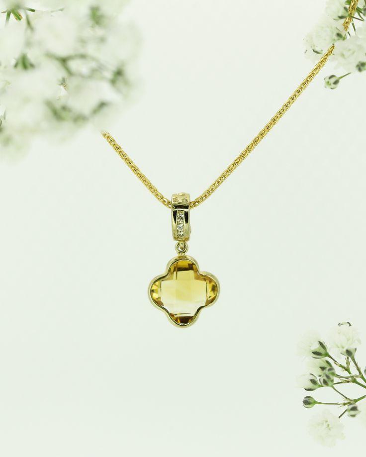 Citrine and diamond pendant by Clayfield Jewellery in Nundah Village, North Brisbane.
