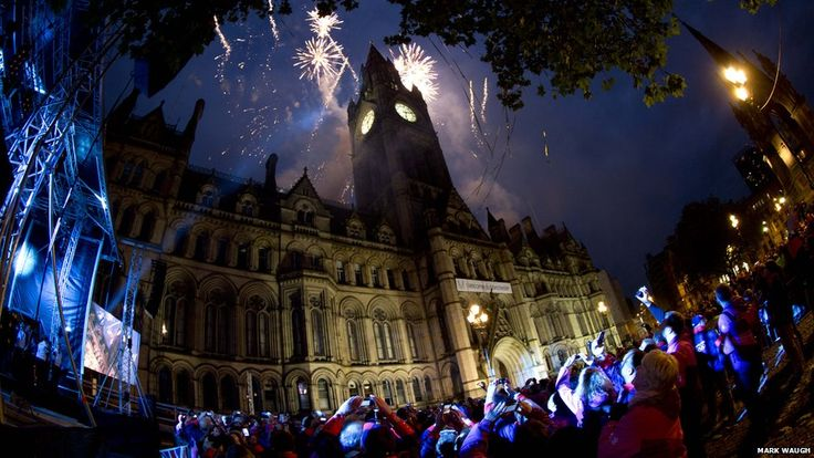 Fireworks over Manchester Town Hall