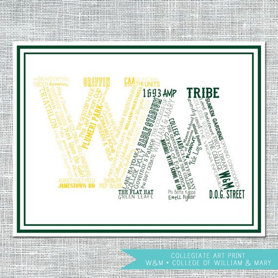 The College of William and Mary Typographical 8x10 Art Print