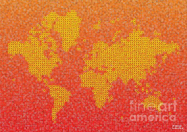World Map Kotak In Yellow Orange And Red by elevencorners. World map wall print decor. #elevencorners #mapkotak