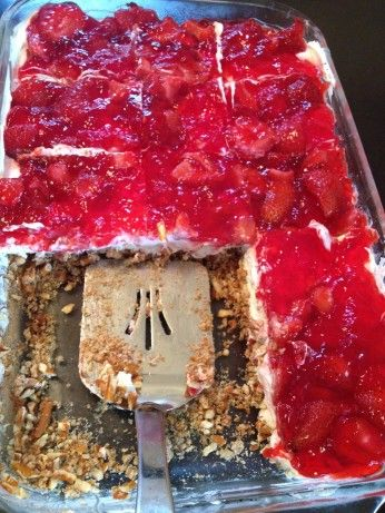 My daughter gave me this strawberry pretzel salad recipe. It is a favorite of her in-laws. I tried it and it is delicious!