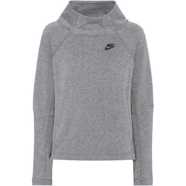 Nike Tech Fleece Cotton-Blend Sweatshirt (1,800 MXN) ❤ liked on Polyvore featuring tops, hoodies, sweatshirts, grey, gray top, gray sweatshirt, nike sweatshirts, grey sweatshirt and nike top
