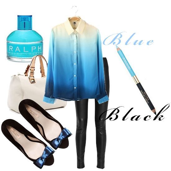 Broshka blue outfit - daily look.  Shoe clips made by broshka.pl