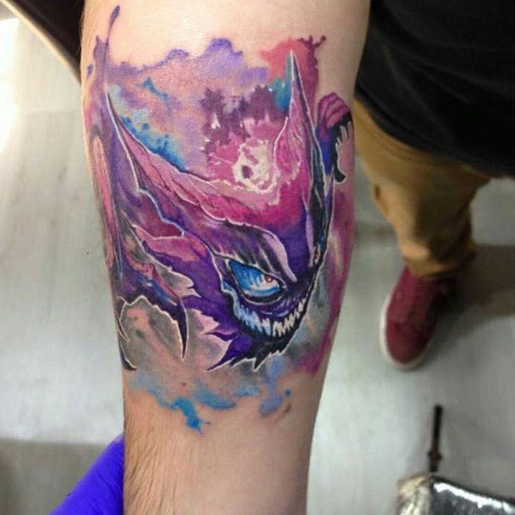 """#pokemonday #3 Haunter tattoo by @alenpaulw #pokemon #pokemontattoo #nintendo #videogametattoo Thanks Alen! =) - Trivia: Because of its ability to…"""