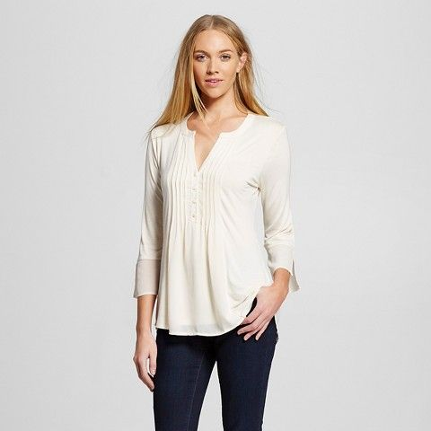 Women's Pleated Front Blouse with Mandarin Collar - Cream - August Moon