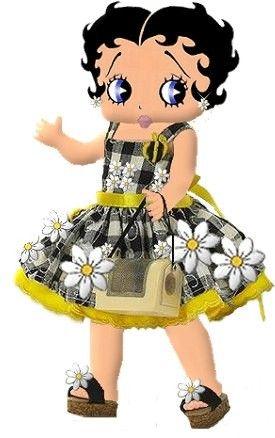 Baby Boop in a Sunflower dress #bettyboop #illustration ✿⊱╮