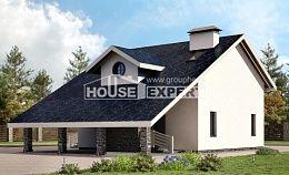 155-010-П Проект двухэтажного дома мансардой, гараж, небольшой коттедж из газосиликатных блоков